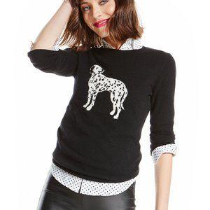 Cashmere Dalmation Sweater S Black Thin Knit